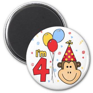 Monkey Face  4th Birthday 2 Inch Round Magnet