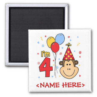 Monkey Face  4th Birthday 2 Inch Square Magnet