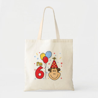 Monkey Face 6th Birthday Budget Tote Bag