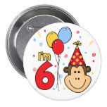Monkey Face  6th Birthday Button