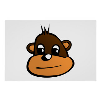 Monkey face cartoon posters