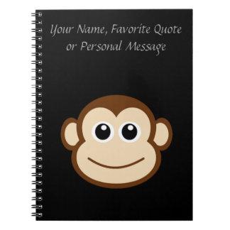 Monkey Face Cartoon Spiral Notebook