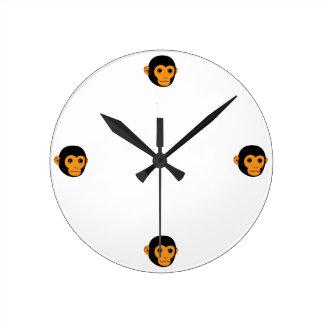 Monkey Face Round Wall Clock