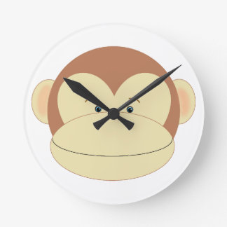 Monkey Face Round Wallclocks