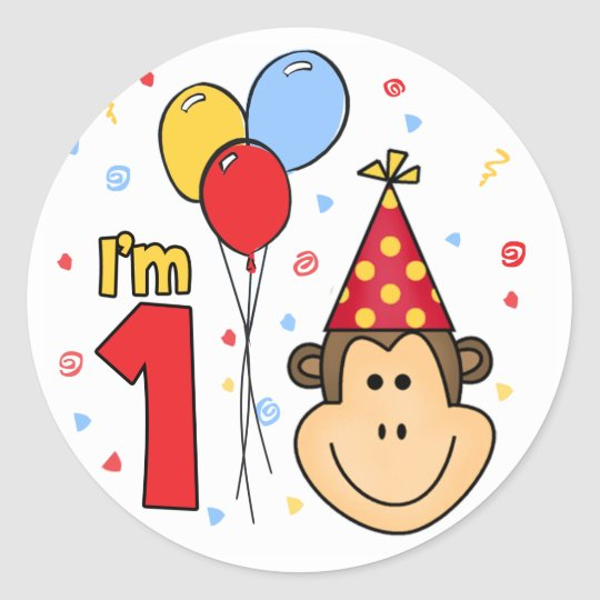 Monkey Face First Birthday Classic Round Sticker