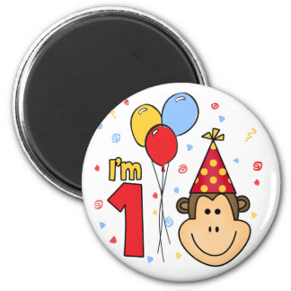 Monkey Face First Birthday Magnet