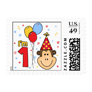 Monkey Face First Birthday Postage Stamps