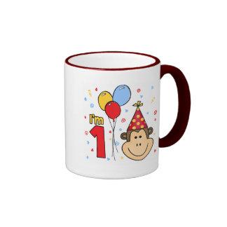 Monkey Face First Birthday Ringer Mug