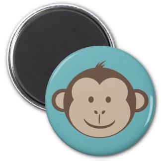Monkey Face Magnet on Blue
