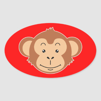 Monkey Face Oval Sticker