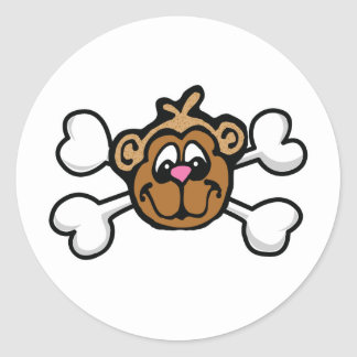 monkey face Skull and Crossbones Classic Round Sticker