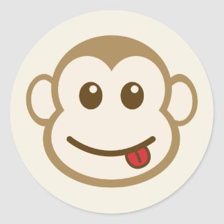 Monkey Face Vector Art Classic Round Sticker