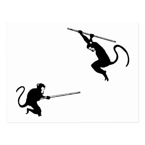Monkey Fight Post Card