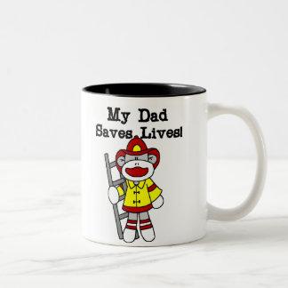 Monkey Firefighter Daddy Saves Live Two-Tone Coffee Mug