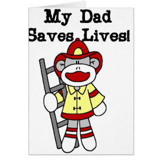 Monkey Firefighter Daddy Saves Lives Card