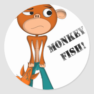 MONKEY-FISH CLASSIC ROUND STICKER