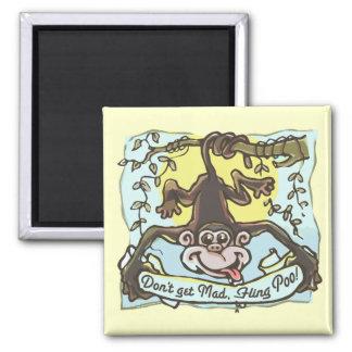 Monkey flings Poo by Mudge Studios 2 Inch Square Magnet