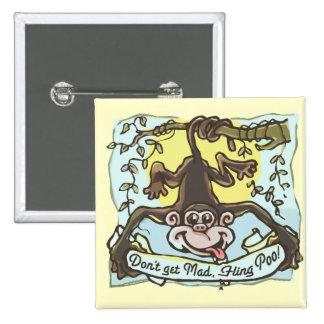 Monkey flings Poo by Mudge Studios Pin