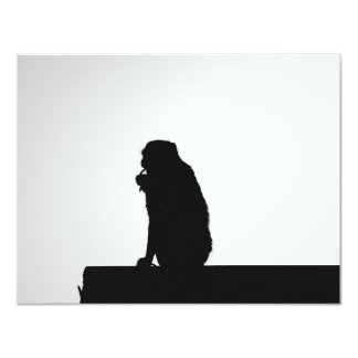 Monkey flossing silhouette photo card