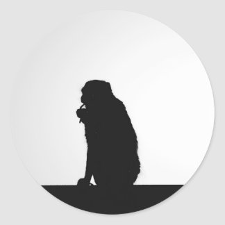 Monkey flossing silhouette photo classic round sticker