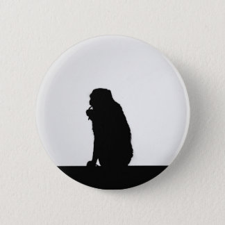 Monkey flossing silhouette photo pinback button