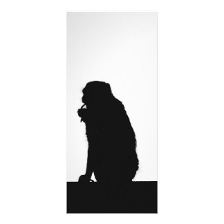 Monkey flossing silhouette photo rack card