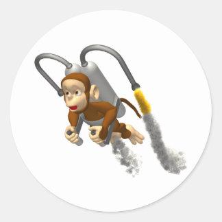Monkey Fly Classic Round Sticker