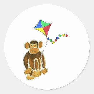 Monkey Flying Kite Classic Round Sticker