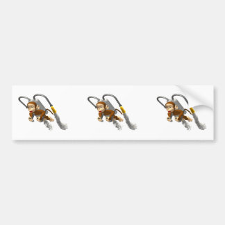 Monkey Flying With Jetpack Bumper Sticker