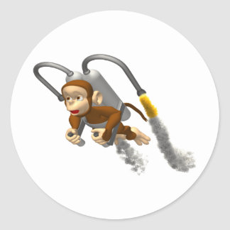 Monkey Flying With Jetpack Classic Round Sticker