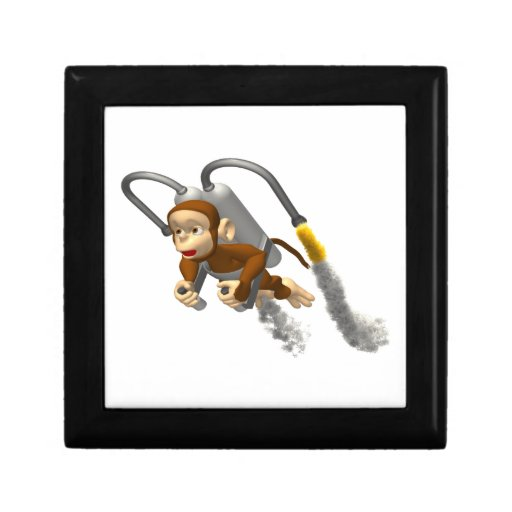Monkey Flying With Jetpack Jewelry Boxes