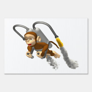 Monkey Flying With Jetpack Lawn Signs