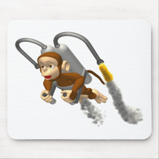 Monkey Flying With Jetpack Mouse Pad