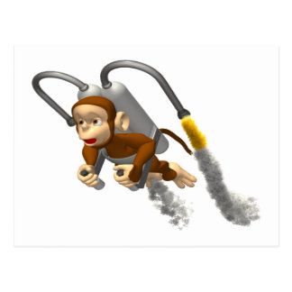 Monkey Flying With Jetpack Postcard