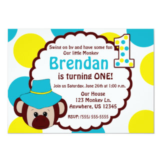 Monkey Fun Boys First Birthday Invitation
