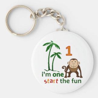 Monkey Fun One Basic Round Button Keychain