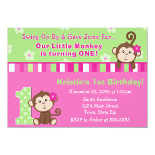 Girl monkey birthday invitations announcements zazzle monkey girl 1st birthday invitation 5x7 card filmwisefo Gallery