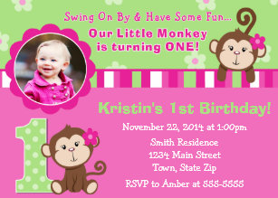 Monkey birthday girl invitations announcements zazzle monkey girl 1st birthday invitation 5x7 photo card filmwisefo