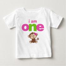 Monkey Girl 1st Birthday Tshirt Toddler Baby Kid