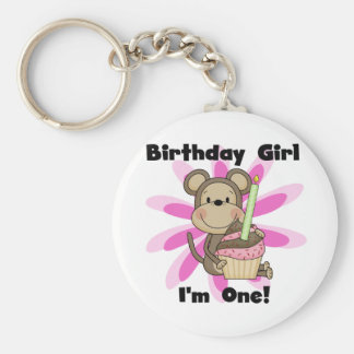 Monkey Girl 1st Birthday Tshirts and Gifts Basic Round Button Keychain