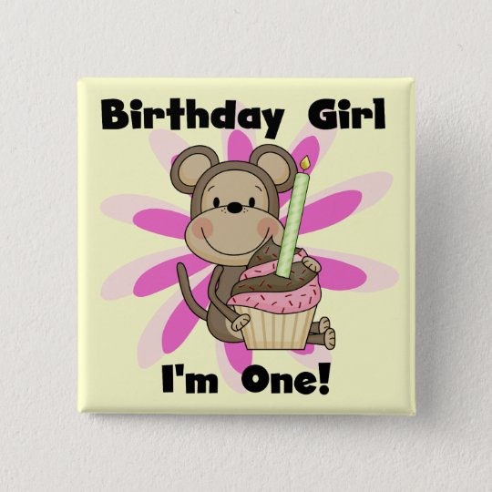 Monkey Girl 1st Birthday Tshirts and Gifts Button