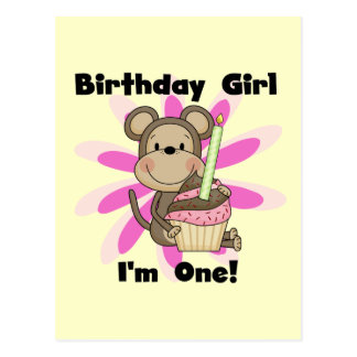 Monkey Girl 1st Birthday Tshirts and Gifts Postcard