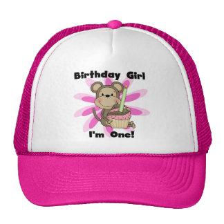Monkey Girl 1st Birthday Tshirts and Gifts Trucker Hat