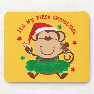 Monkey Girl 1st Christmas Mouse Pad