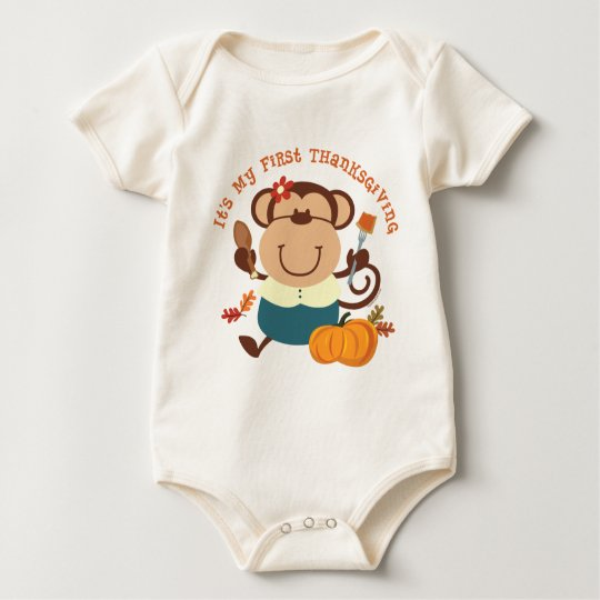 Monkey Girl 1st Thanksgiving Baby Bodysuit
