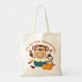 Monkey Girl 1st Thanksgiving Canvas Bags