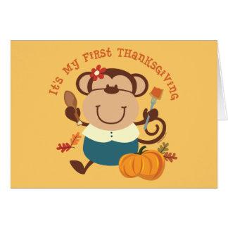 Monkey Girl 1st Thanksgiving Greeting Card
