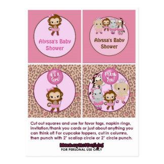 MONKEY Girl Baby Shower Cupcake Topper Tu Tu Cute Post Card