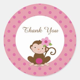 Monkey Girl Baby Shower Favor Gift Tags Sticker