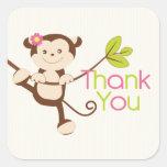 Monkey Girl Baby Shower Thank You Square Sticker